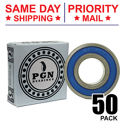 Lot of 50 PCS, 6004-2RS Premium C3 Rubber Sealed Ball Bearing, 20x42x12, 6004RS