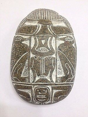 Rare Antique Ancient Egyptian Amulet Beetle Scarab Statue for luck with Hierogly