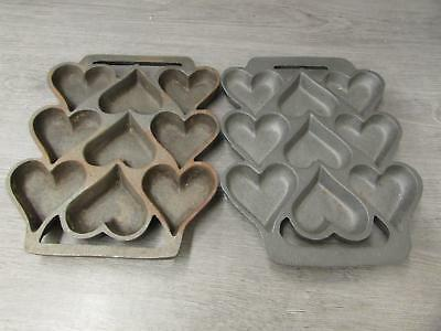 Pair of Vintage Cast Iron Heart Shaped Baking Cookie Cupcake Muffin Molds