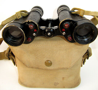 WWII British Army Binoculars - Dated 1943 - With Sighting Graticule & Case