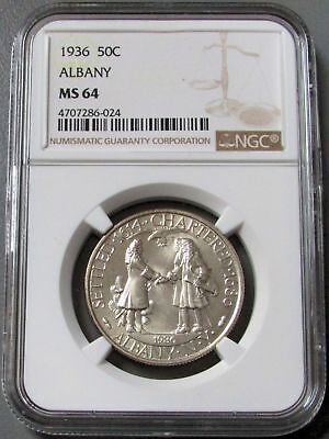 1936 Silver Albany New York Commemorative Half Dollar Coin Ngc Mint State 64