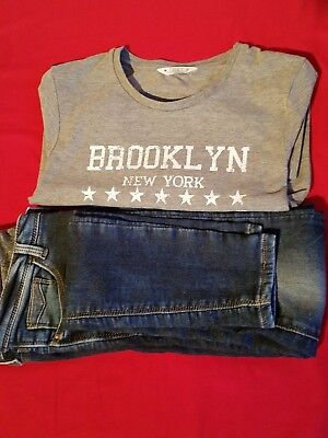 Girls Grey Top and Jeans Bundle Age 15