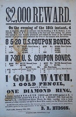 x RARE Broadside - Reward Wanted Poster THEFT - Auriesville NY Fultonville 1866