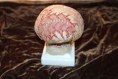 Antique Large Lace Covered Pincushion Milk Glass Base
