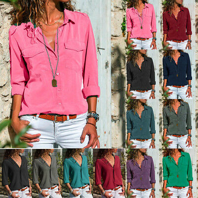 Newest Women Long Sleeve Turn Down Collar T-Shirt Button Front Shirt Tops Blouse