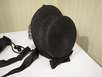 Antique Victorian Hat Woman's Vintage Clothing and Purse Bonnet Millinery Mourn