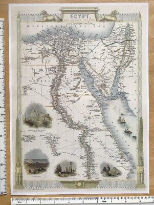 "Antique vintage vignette map 1800s Egypt, Arabia, Petra Tallis 13 X 9.5"" Reprint"
