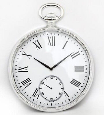 Wall Clock Silver Pocket Fob Watch Vintage  Antique Retro Clock 38cm