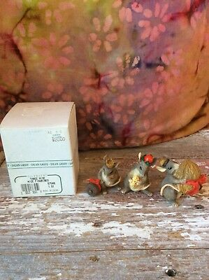 Charming Tails Three Wise Mice Christmas Figurines Dean Griff Silvestri Set of 3