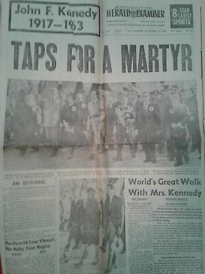 """JFK """"Taps For A Martyr"""" Herald Examiner * California Newspaper * Authentic"""