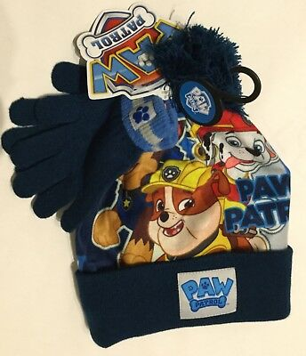 Boys Blue Beanie Hat & Gloves with Paw Patrol detail