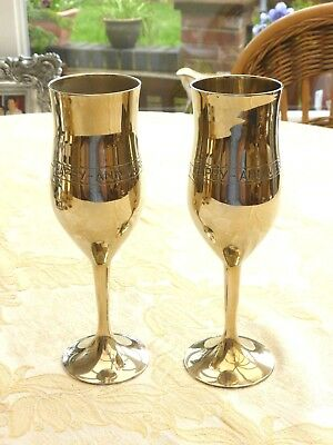 Pair Of Solid Brass Hand Engraved Champagne Flutes    1350790/92