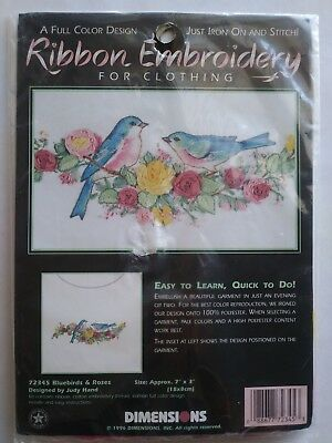 Dimensions Ribbon Embroidery for Clothing 1996 Kit Brand New Bluebirds & Roses