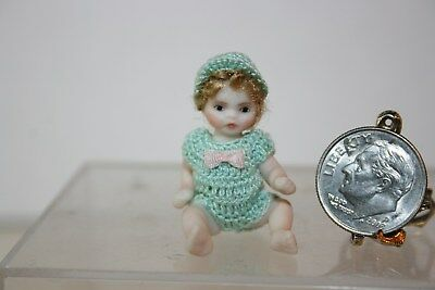 Miniature Dollhouse Artisan Jointed Porcelain Childs Toy Doll 1:12 Baby 1:24 NR