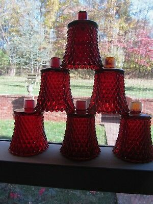 Vintage Set 6 Ruby Red Diamond Cut Glass HOMCO Home Interiors Candle Votive Cup