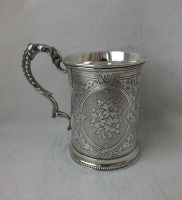Pretty Victorian Hand-Engraved Solid Silver Cup/ Mug 1868/ H 7.8 cm/ 131 g