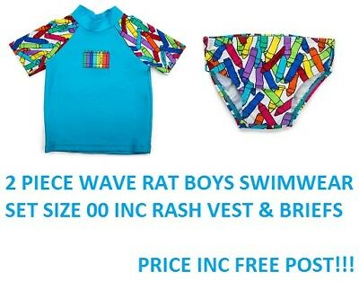 Baby Wave Rat Boys Crayon Blue Rash Top & Briefs Pants Bathers Swim Set Sz 00