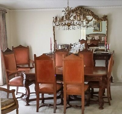 Antique Dining Room Set, Hand Carved, Anthony Magdalany ~100 years old