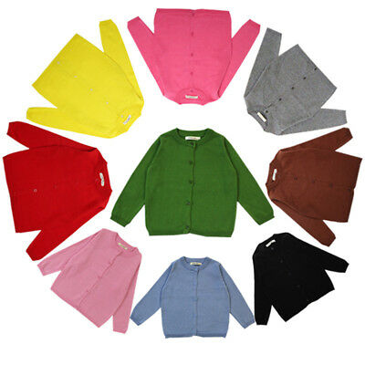 Toddler Kids Baby Boy Girl School Knitted Sweater Cardigan Coat Long Sleeve Tops