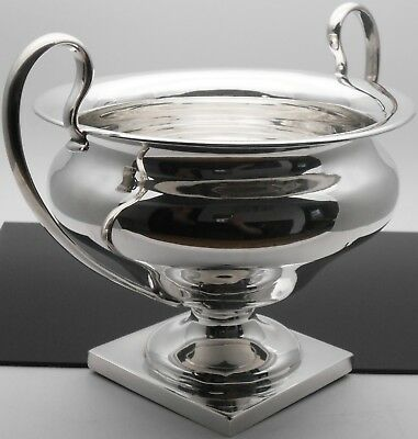 LARGE 510g STERLING SILVER PEDESTALLED TROPHY BOWL - ANTIQUE