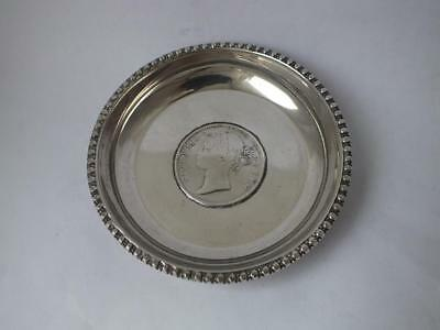 "Solid Silver ""1840 Indian One Rupee"" Coin Dish/ Dia 8 cm/ 50 g/ UNMARKED"