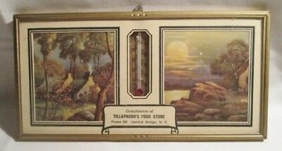 Antique Advertising Thermometer/Pic. Central  Bridge NY Tillapaugh's Food Store