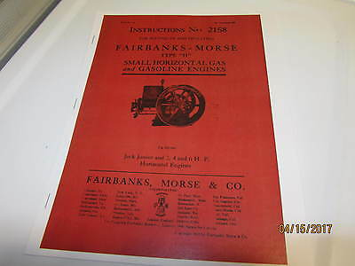Fairbanks Morse Type H Gas Engine Instruction Manual # 2158 1911 Reprint