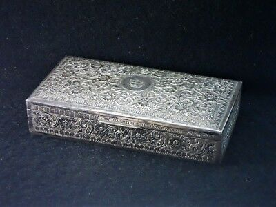 Antique Sterling Hand Chased Cigar Humidor Box