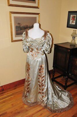 """1890s """"fur"""" trimmed ball gown"""