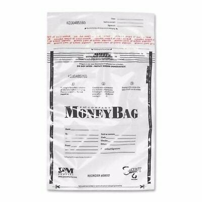 PM Company Securit Tamper-Evident Deposit Bags 9 x 12 Plastic Clear 100 per Pack