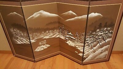 "Vintage 4 Panel Folding Screen **Unique painting on EACH side** Byobu 65"" x 36"""