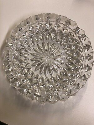 """Vintage Large Lead Crystal Clear Glass Ashtray - 5"""" Very Heavy"""