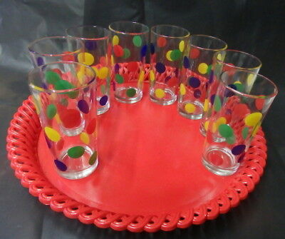 Retro Red Tray and 8 Tall Glasses