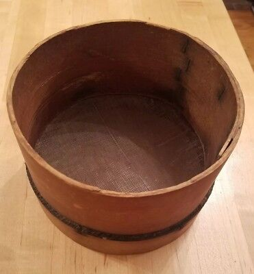 "Antique Sifter Sieve Small Primitive 7-3/4"" Round Wood Kitchen, Fine Wire Mesh"