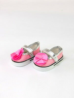 """Pink Glitter Flower Mary Jane Dress Shoes Fits 18"""" American Girl Doll Clothes"""