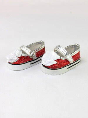 """Red Glitter Flower Mary Jane Dress Shoes Fits 18"""" American Girl Doll Clothes"""