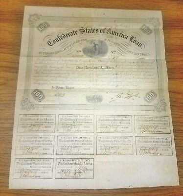 MO 1863 Confederate States of America Loan Bond $100