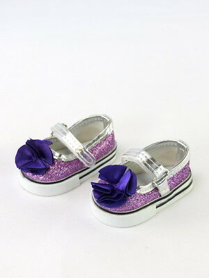 """Purple Glitter Flower Mary Jane Dress Shoes Fits 18"""" American Girl Doll Clothes"""