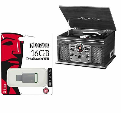 6-in-1 Record Player Bluetooth Home Stereo  + Kingston USB 3.0 16GB Flash Drive