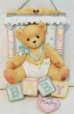 Cherished Teddies Bear Baby Sleeping Wall Plaque 203718 Blocks