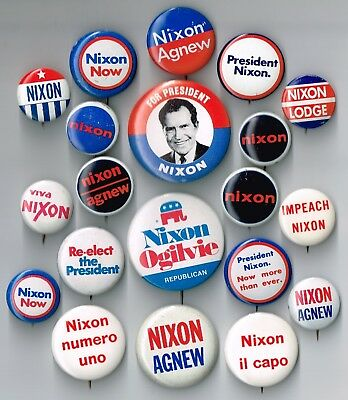 20 Different RICHARD NIXON for President Campaign Pins