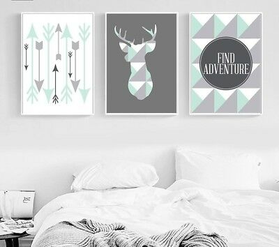Wall Art Canvas Geometric Deer Arrow Poster Print Nordic Style Abstract Painting