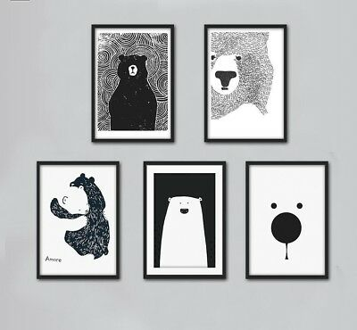 Art Canvas Poster Minimalist Prints Cartoon Polar Bear Picture Modern Decoration