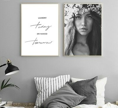 Canvas Prints Posters Minimalist Quote Girl Wall Art Painting Picture Home Decor