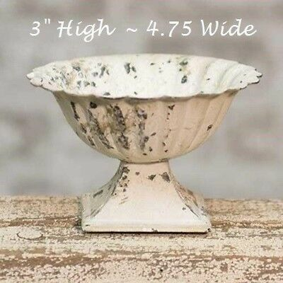 Chippy Urn Planter Metal French Country CREAM Shabby Chic Garden Cottage Style