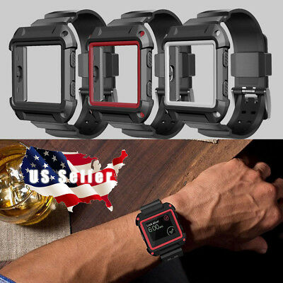 Rugged Armor Replacement Large Wristband Watch Band Strap+Frame for Fitbit Blaze
