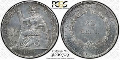 French Cochin China 1884 A 20 Cent Pcgs Au58 Graded Toned Coin <Omg Collection>