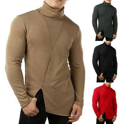 US Men Thermal High Collar Turtleneck Pullover Long Sleeve Sweater Stretch Shirt