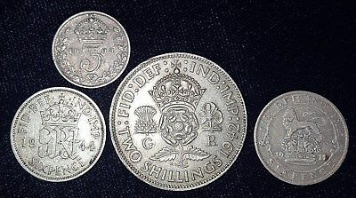 4 Silver Coins from England.  1908-1944.  No Reserve!