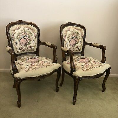 2 French Provincial Louis XV style parlour chairs Chinoiserie Tapestry